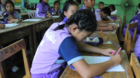 Asian Children Learning English In Classroom Footage