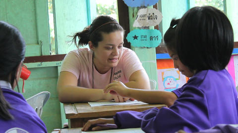 Missions Team Member Teaching English Asians Footage