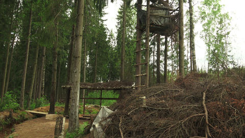 Military observation tower for in the forest. 4K Footage