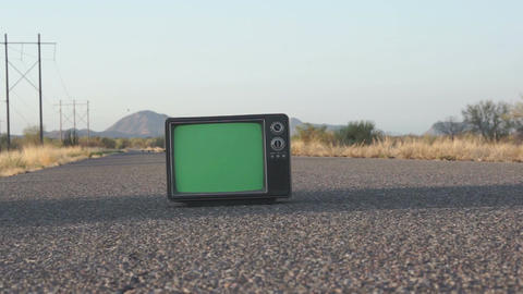 Retro TV on Highway Dolly Footage