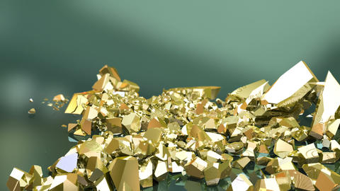Gold bars falling down Animation
