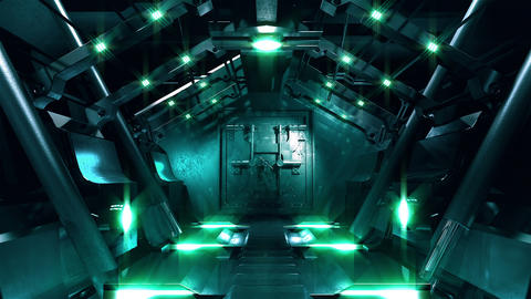 Steel gate opening in science fiction tunnel CG動画素材