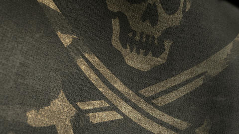 Pirate Flag Closeup Render HD stock footage