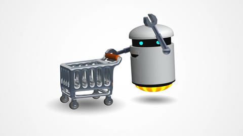 Little Robot Pushing A Shopping Cart stock footage