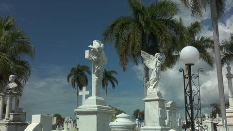 Angle Statue At Santa Ifigenia Cemetery,santiago D stock footage