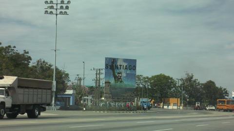 huge poster of fidel castro in santiago de cuba Footage