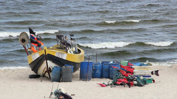 Fishing boat on the seashore of the Baltic Sea 2 Footage