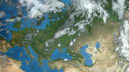 Earth In Space - zoom at Europe Animation