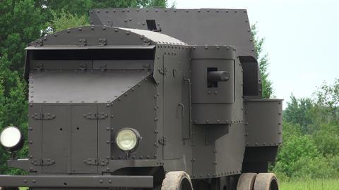 Armored car fires his machine gun. The first world Footage