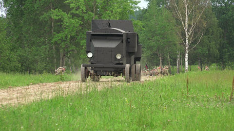 Armored car in the field. The first world war. 4K Footage