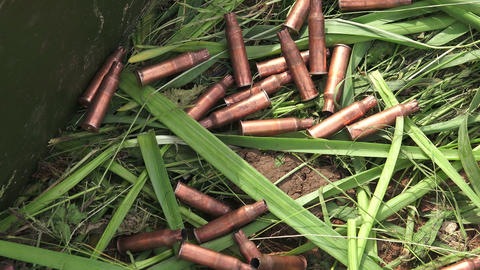 Machine-gun bullets on the grass. The first world  Footage