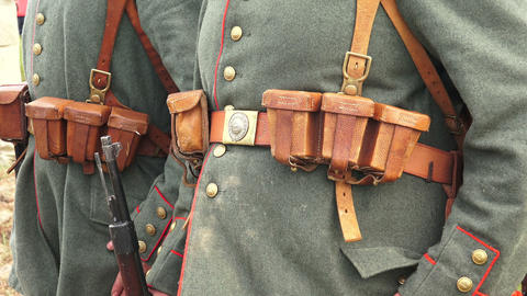 The guard of German soldiers. The first world war. Footage