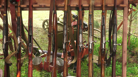 Military warehouse rifles. WWI. 4K Live Action