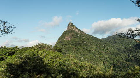 Time-lapse daylight footage of Christ the Reedemer statue from Tijuca National F Footage