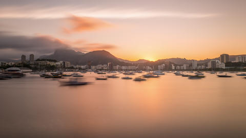 Evening to night time-lapse of the Rio de Janeiro marina Live Action