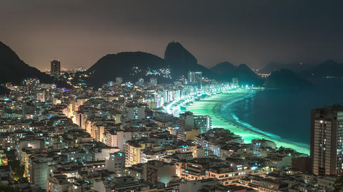 Nighttime time-lapse of Rio de Janeiro from a favela area Footage
