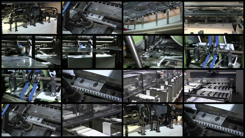Video Wall Printing Industry Process, 4K 16 screen Footage