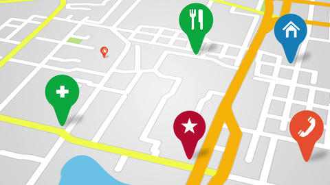 Navigation City Map And Icons Animation stock footage