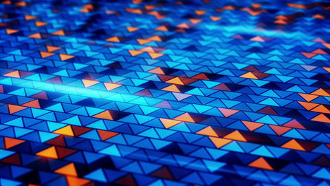 blinking blue orange triangles loopable background Animation