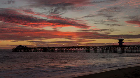 Seal Beach Pier Sunset Time Lapse stock footage