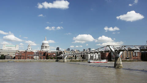Millennium Bridge in London with St. Paul's Cathed Footage