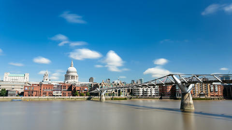 Long Exposure Time Lapse Of The Millennium Bridge  stock footage