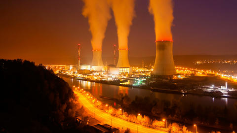 Nuclear Power Station At Night Time Lapse stock footage