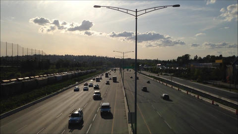 High angle with backlighted shot of highway number Footage