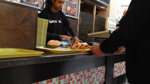 Food court counter for people paying food Footage