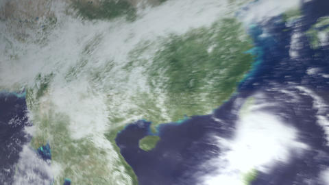 3DCG地球中国へズームインして雲の上 Footage
