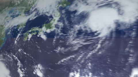 3DCG地球日本へズームインして雲の上 ライブ動画