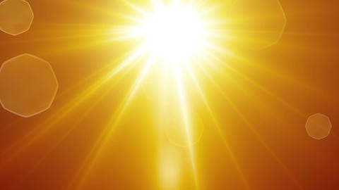 yellow sun rays and lens flare loopable background Animation