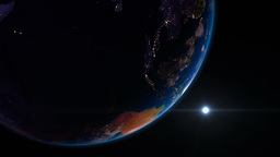 Earth view from space with night city lights. Ocea Animation