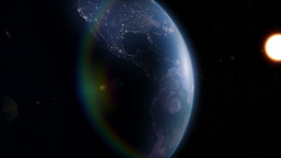 Partially lit rotating earth view from space with  Animation