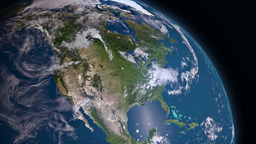 Earth 3d view from space. North America Animation