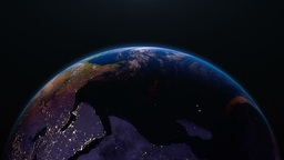 Earth view from space with night city lights. Afri Animation