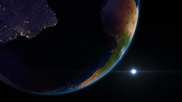 Earth view from space with night city lights. Sout Animation