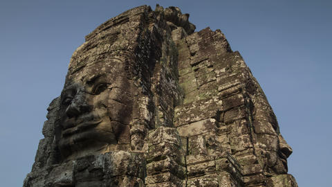 Light shadow on Bayon bas relief timelapse 4K Live Action