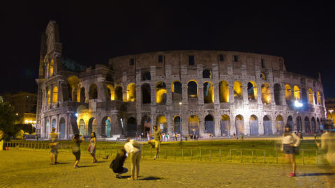 ROME, ITALY MAY 29, 2014: The Colosseum Night Time Footage