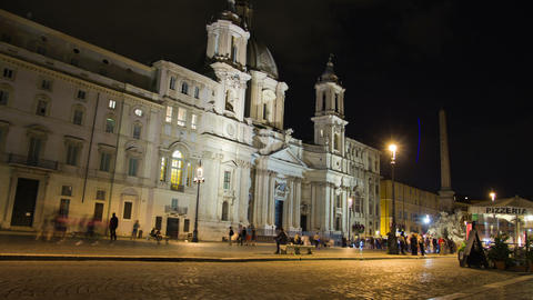 Piazza Navona In Rome, Italy. Night Time Lapse stock footage