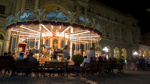 FLORENCE, ITALY - 1 JUNE 2014: Carousel, Piazza De stock footage