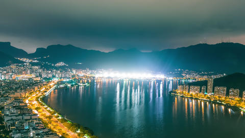 Panning time-lapse overlooking the nighttime bay of Rio de Janeiro Brazil Footage
