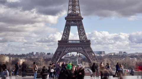 PARIS, FRANCE - 24 February 2014: View Of Eiffel T stock footage