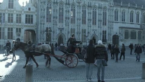 BRUGES, BELGIUM - FEBRURARY 20: Panorama Of Bruges stock footage