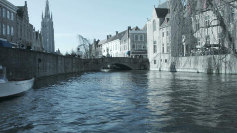 Most common view of medieval Bruges, Belgium Footage