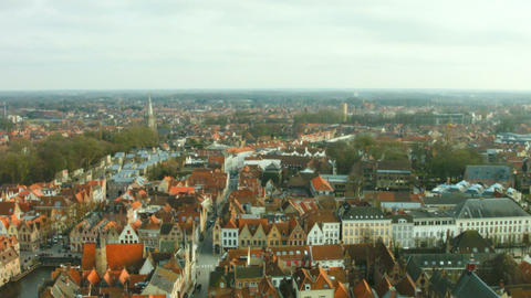 Top View Of The City Of Bruges, Belgium stock footage