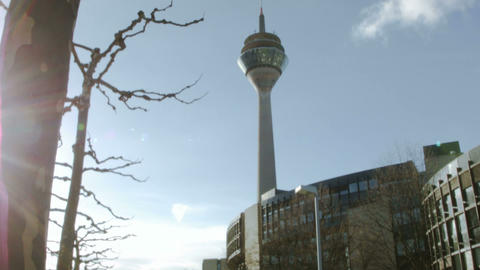 View of the television tower of Dusseldorf in Germ Footage