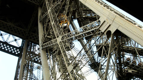 Eiffel Tower Metal Construction. Shot From Inside. stock footage