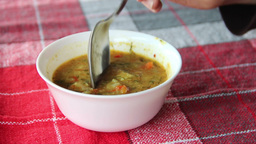 Eating Vegetable, Vegetarian, Vegan Soup stock footage
