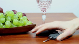 Drunk Driving. Don't Drink And Drive. Red Wine 2 stock footage
